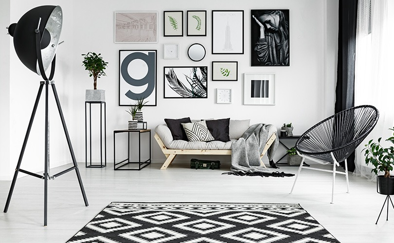 Black Floor Lamp with Monochrome Furniture