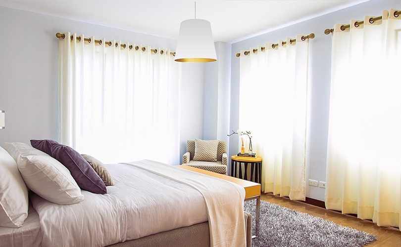 White and gold bedroom pendant light