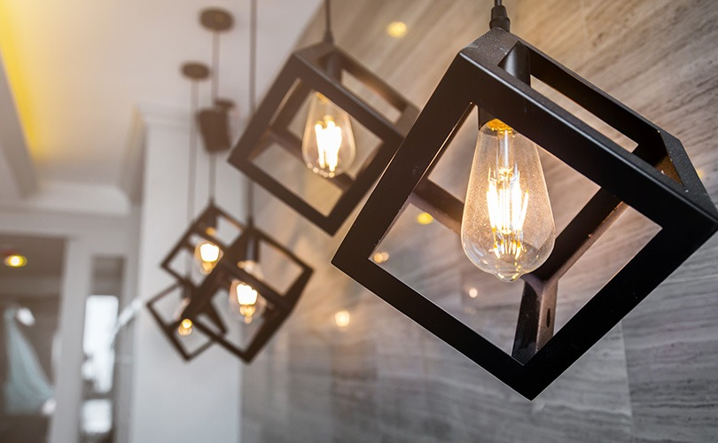 Black cube pendant lighting