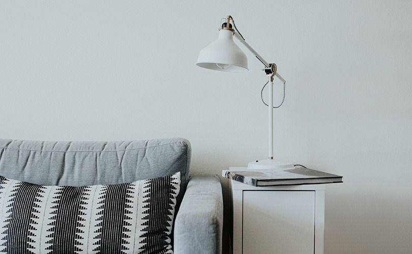 White side table lamp